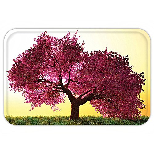 Autumn Cherry Tree (VROSELV Custom Door MatJapanese Decor Collection Mystical Majestic Pink Cherry Blossom Tree Floral LeaveAsian Nature in Golden Sun Pink Yellow)