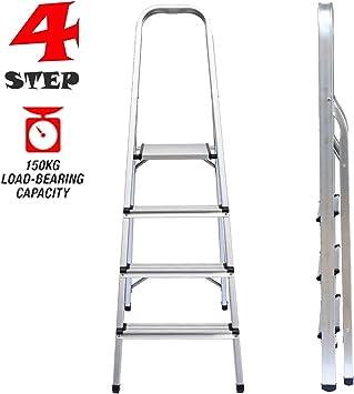 Escaleras de aluminio de 4 escalones, multiusos, plataforma plegable, taburete para el hogar, oficina, cocina, portátil, ligero, 6.4 libras, soporta hasta 330 libras: Amazon.es: Bricolaje y herramientas
