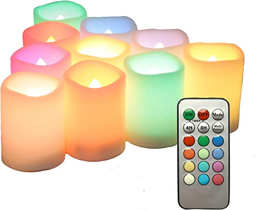 iZAN 10PCS Multi Color Changing Flameless Battery Operated LED Votive Candles with Remote Flickering Electric votives for Halloween Christmas Home Party Wedding Decors 1.5 x2 Batteries Included