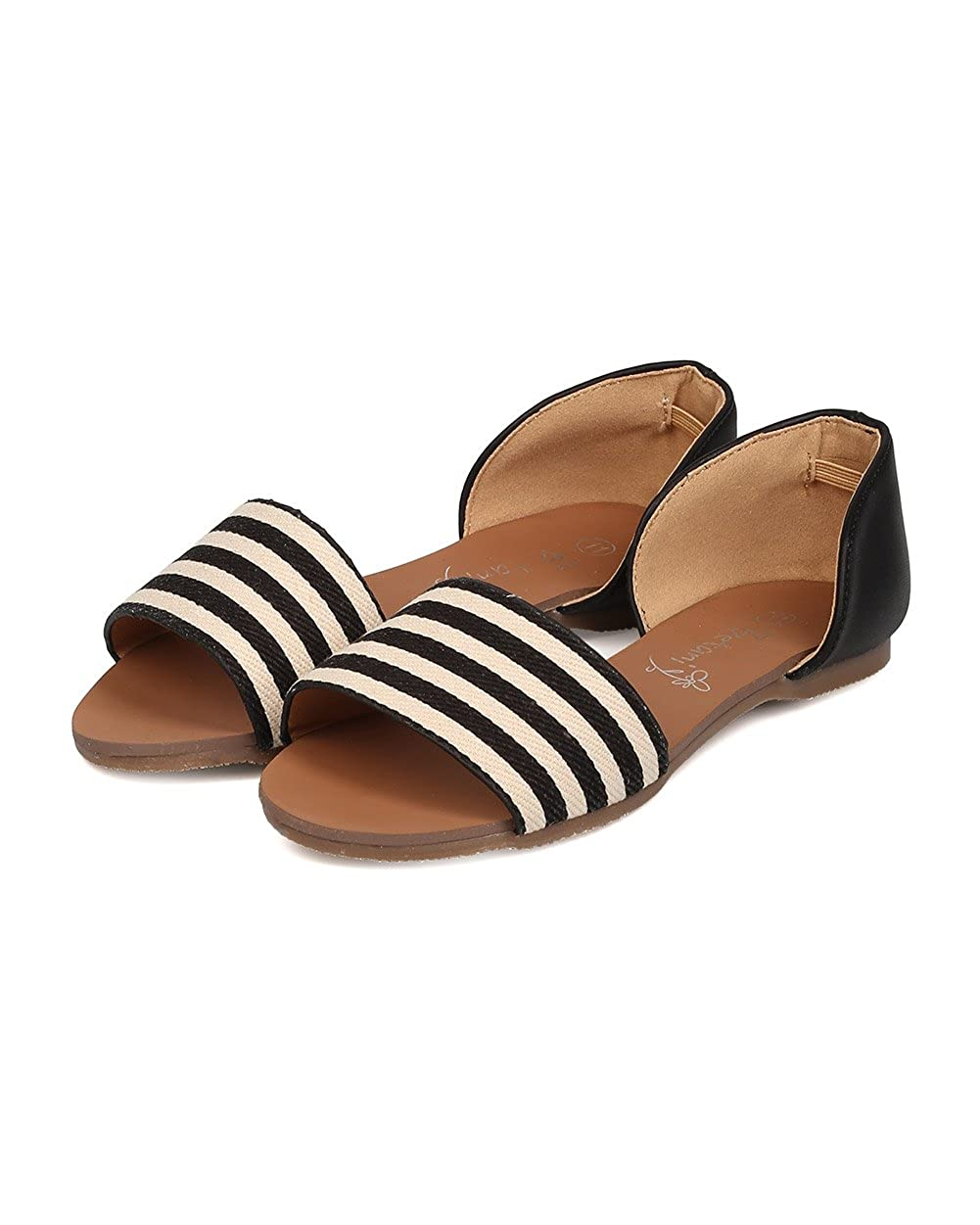 FB82 Stripe Little Girl//Big Girl Betani Mixed Media Open Toe Striped Dorsay Flat