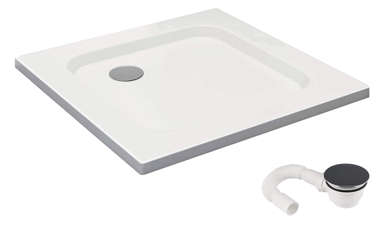 con pendiente Vilstein/© Plato de ducha fibra de vidrio reforzada Blanco nieve conector DIN forma cuadrada Color blanco acr/ílico sanitario Brillante muy plano