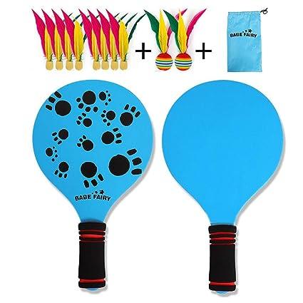 NUEVO kit de raquetas palas badminton playa con pelotas con plumas ...