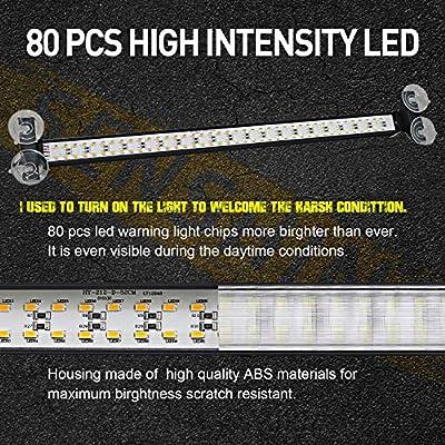 Led Warning Lights 23 Inch Police Emergency Strobe Light Bar 13 Flash Patterns 80 Led Traffic Advisor Vehicle Truck Cop Strobe Warning Flashing Led Safety Light with Cigar Lighter Blue: Automotive
