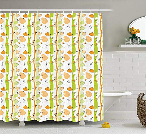 TYANG Abstract Shower Curtain, Cartoon Style Floral Pattern with Vertical Stripes Background, Fabric Bathroom Decor Set with Hooks,60 W x 72 L inches Extra Wide, Pale Orange Apple Green Black