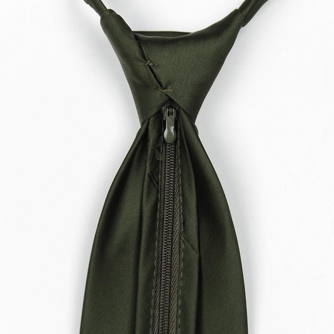 Anglayif Cremallera Corbata Verde Corbata Formal de Color sólido y ...