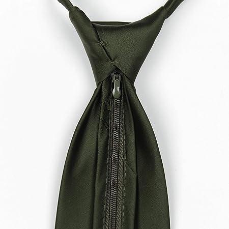 SHIZHESHOP Cremallera Corbata Verde Corbata Formal de Color sólido ...