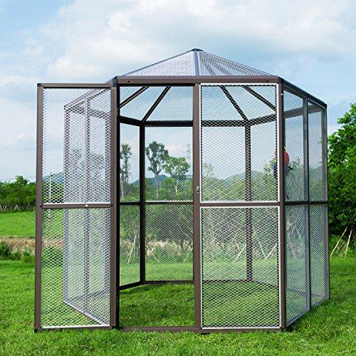 Hexagonal Aviary (Bestmart INC LARGE Hexagonal Flight Bird Cage Walk In Aviary for Pet Parrot Bird Finch)