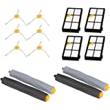 Reinigung Roboter Zubehör - Kingwo Replacement accessory kit for iRobot Roomba 800 870 880 900 980 Vacuum cleaner, Includes 4x Hepa filter, 6x brush side, 2 pairs Debris extractor