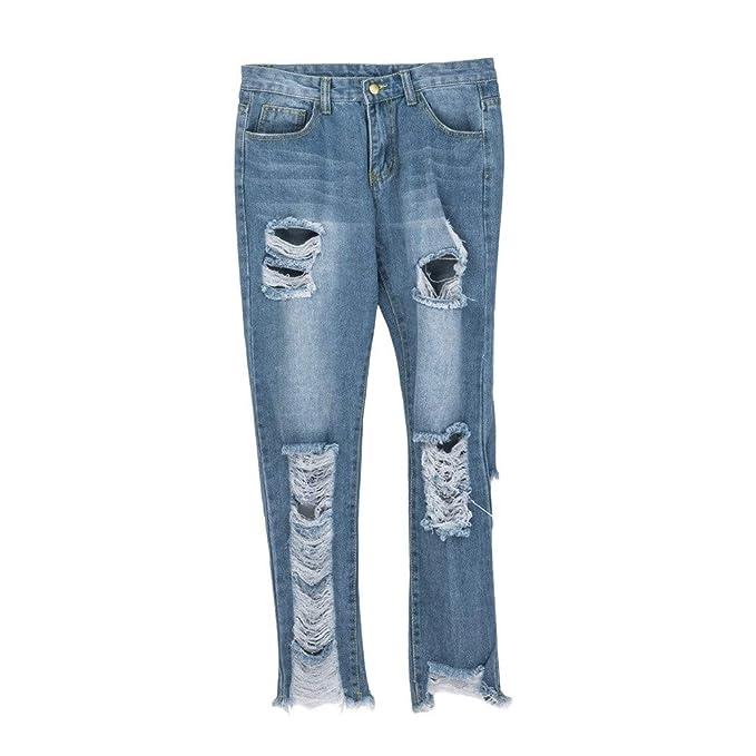 8ede11c01c50 Leey Jeans da donna di grandi dimensioni con foro Donna jeans vita alta da donna  jeans