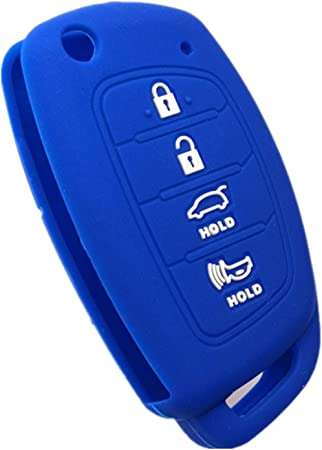 RUNZUIE Silicone Keyless Entry Remote Key Fob Cover Case Protector Shell Fit for Hyundai Tucson Sonata Santa Fe TQ8-RKE-4F16 4 Buttons