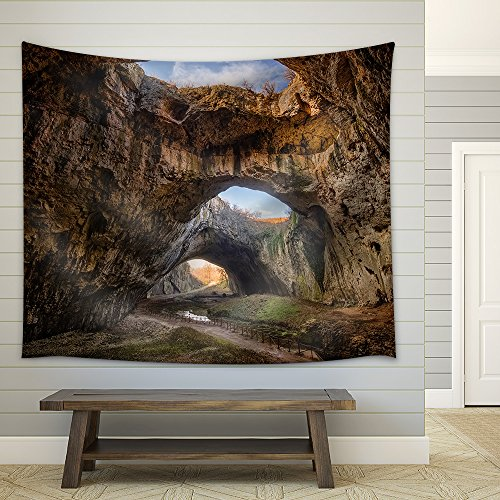 wall26 - The Cave - Magnificent View of The Devetaki Cave, Bulgaria - Fabric Wall Tapestry Home Decor - 68x80 inches ()