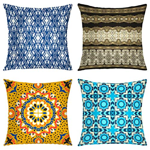 Moroccan Pattern Theme Throw Pillow Covers Square Decorative Pillow Covers Cotton Set of 4 Cushion Covers 18 x 18 inch, 4 Packs for Sofa Bedroom
