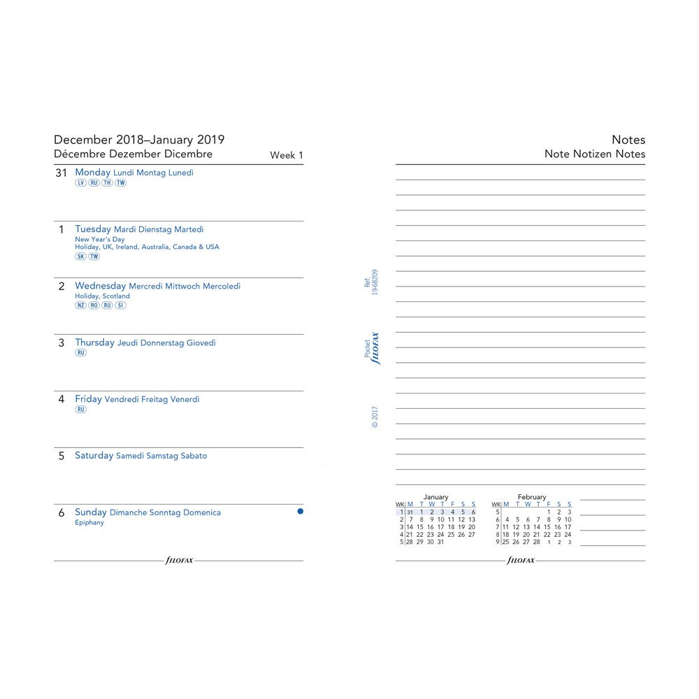 Filofax C68209-2019 Pocket Week on a Page with Notes Refill, Jan 2019- Dec 2019, 4.75 x 3.25 4.75 x 3.25 REDIFORM OFFICE PRODUCTS C68209-19