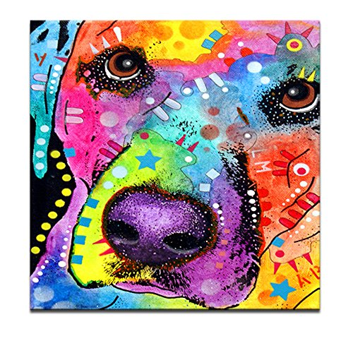 "Canvas Print,Well-designed Abstract Dog,Colorful Lovely Pet Canvas,Human's Good Friend,20""x20\"" Animals Wall Art, Modern Canvas Print, Easy to Hang on, Home Decor,Gallery Wrapped"