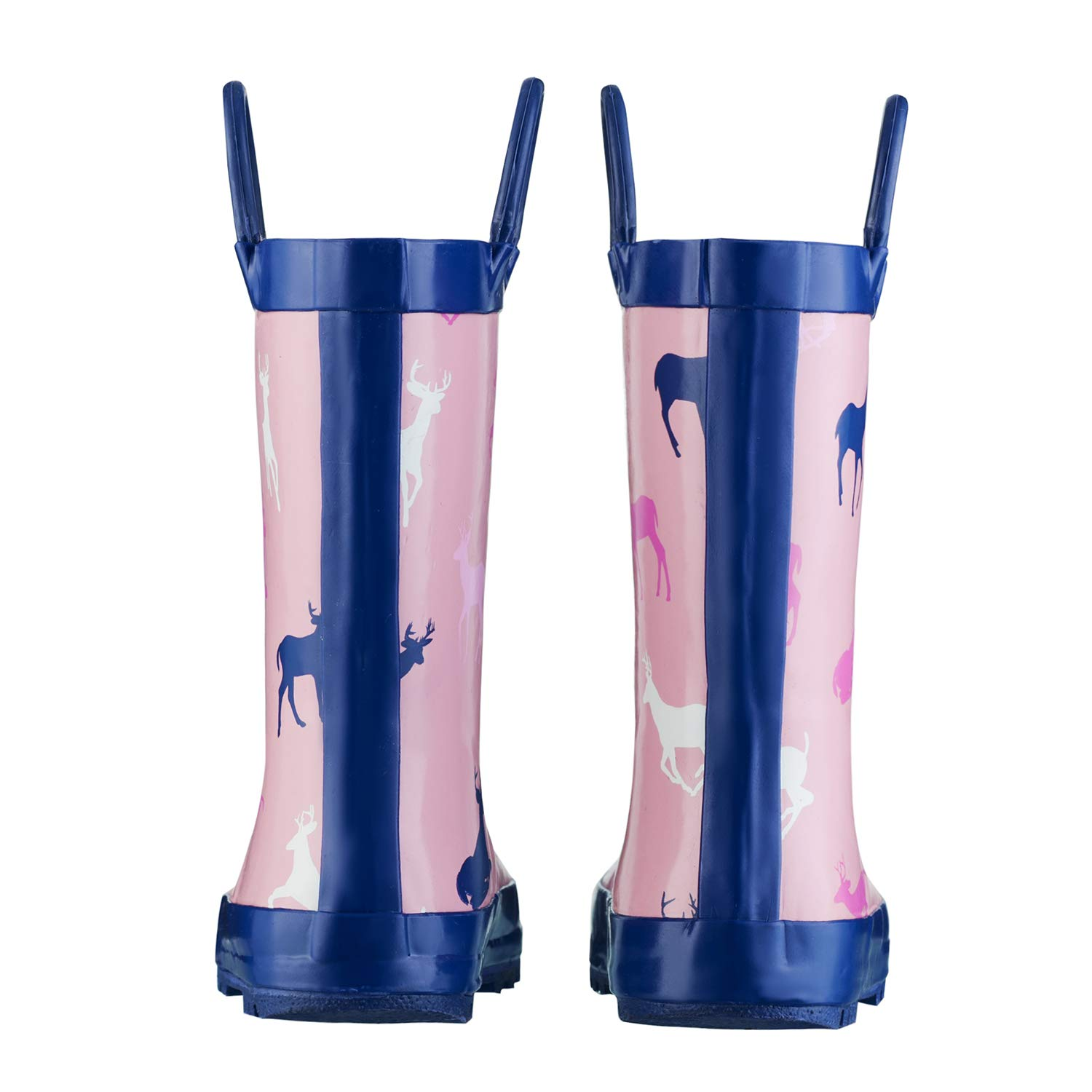 CasaMiel Kid&Toddler Rain Boots for Girls, Children's Handcrafted Rubber Boots, Pink Christmas Deer by CasaMiel (Image #4)