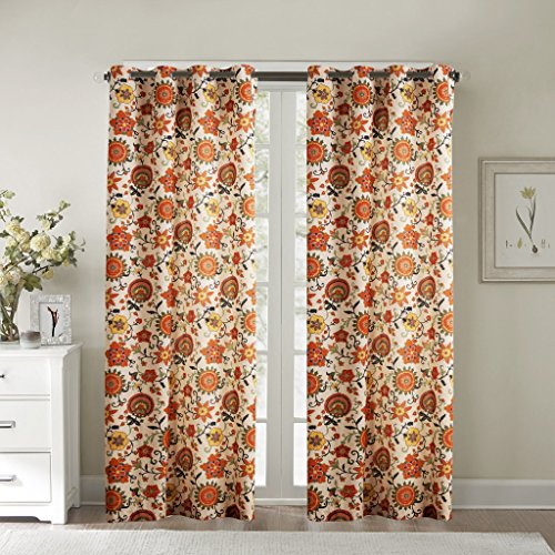 IYUEGO Contemporary Oil Painting Style Lovely Floral Grommet Top Lined Blackout Curtains Draperies With Multi Size Custom 72'' W x 96'' L (One Panel) by IYUEGO