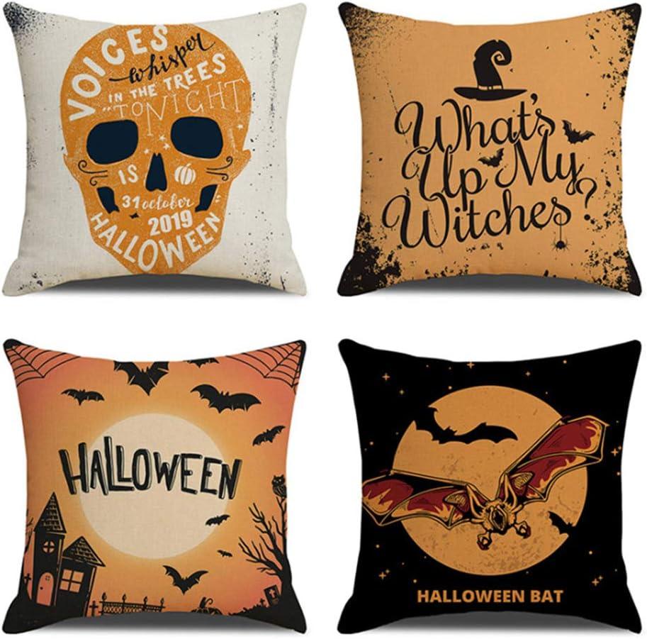 Cushion Cover Cotton Linen Pillow Case Halloween Skull Sofa Home Xmas Decor 2019