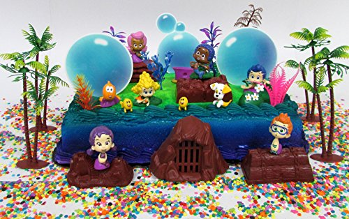 Bubble Guppies Birthday Cake Topper Set Featuring Bubble Guppies Figures and Decorative Themed Accessories -