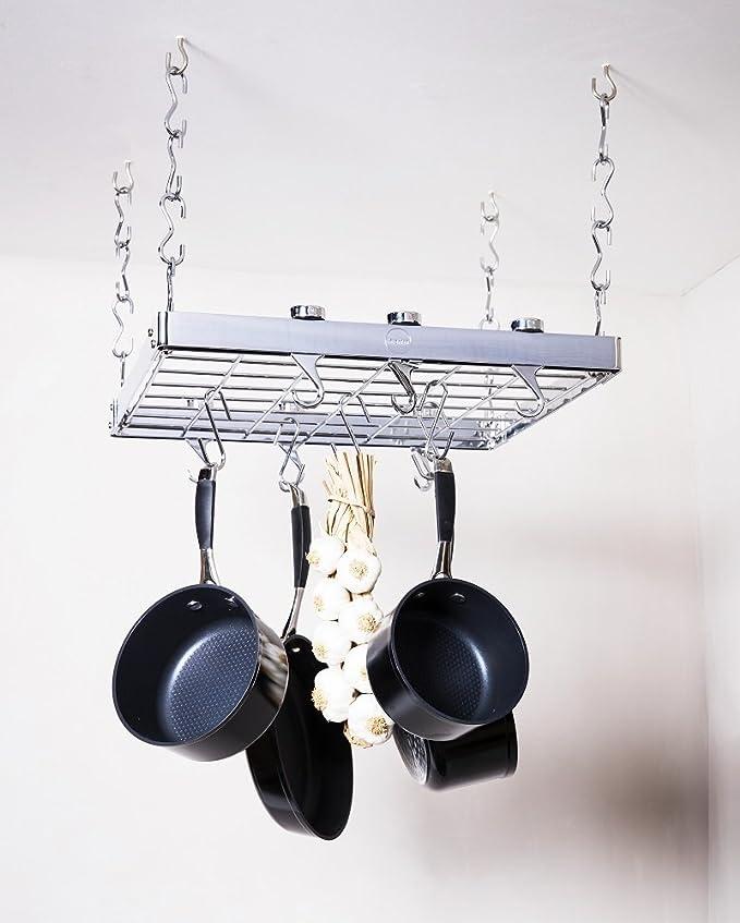 Hahn 40802 - Colgador de techo cuadrado para ollas, cromado: Amazon.es: Hogar