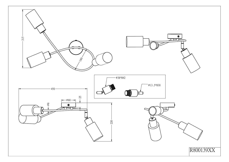 21 x 60 cm 40 W N/íquel mate Reality Mars 4 Spot R80014007-Foco con 4 Luces 230 V Color E14 IP20
