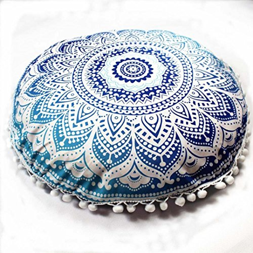 Woaills Home Goods,100% Polyester Round Bohemian Pillow Covers Floor Chair Seat Cushion Case With Hidden Zipper (G)