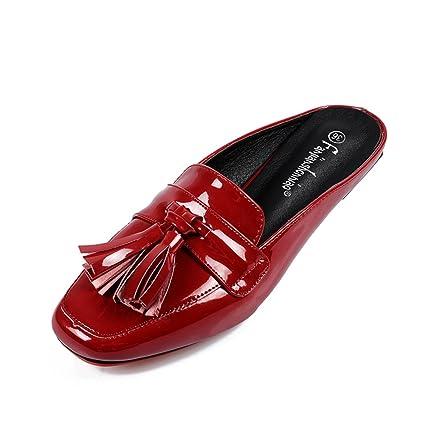 SHINIK Zapatos de mujer PU primavera verano cerrado Sandalias dedo del pie Zapatillas planas plana talón