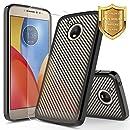 Moto E4 Case with [Tempered Glass Screen Protector] Motorola Moto E 4th Generation Case, NageBee [Carbon Fiber] Ultra Thin Slim Electroplate Soft TPU Case Cover For Moto E 4th Gen (Black)