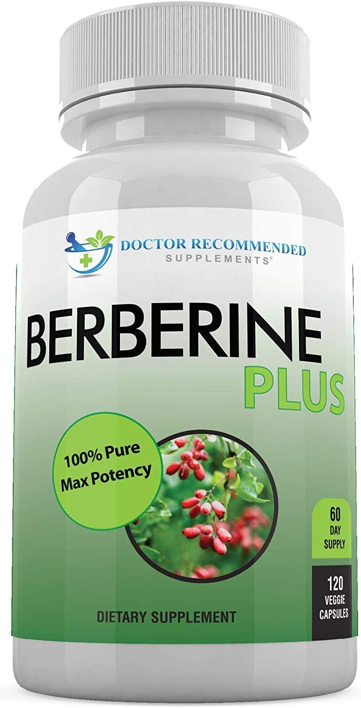 Berberine Plus 1200mg Per Serving - 120 Veggie Capsules Max Potency, Supports Glucose Metabolism, Healthy Immune System, Promotes Weight Loss, Improves Cardiovascular Heart & Gastrointestinal Wellness