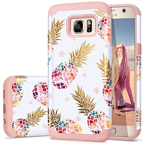 Galaxy S7 Case,Pineapple S7 Cases,Fingic Cute Pineapple Slim Hybrid Case Hard PC&Soft Rubber Anti-Scratch Protective Case for Ladies Girls Cover for Samsung Galaxy S7(G930) ONLY,Pineapple/Rose Gold