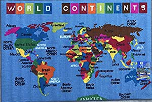 Kids Area Rug Reversible World Continent Map Learning Carpet Game Room  Design 7 (5 Feet 3 Inch X 7 Feet 2 Inch )