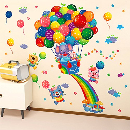 Kaimao Cartoon Animals Fire Balloon Decorative Wall Stickers Removable Wallpapers Home Decals for Kids Baby Bedrooms Nursery Schools - Brick Road Sticker