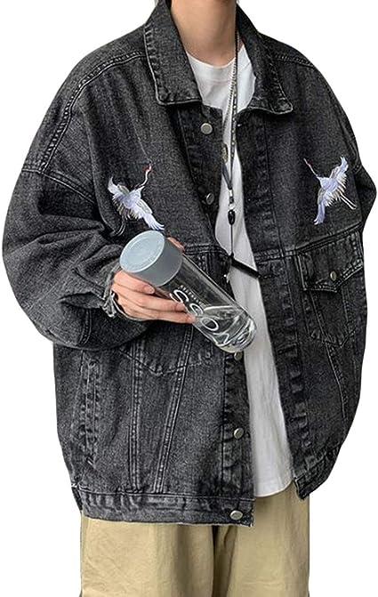 DeBangNiメンズ ジャケット デニムコート ゆったり ファッション 黒 ジージャン アウター カジュアル 刺繍 おしゃれ 秋 冬 春 Gジャン ブルゾン 長袖 韓国風 ビッグシルエット かっこいい