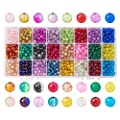 PH PandaHall Pandahall Elite 1 Box (about 1440 pcs) 24 Color 6mm Handcrafted Crackle Lampwork Glass Round Beads Assortment Lot for Jewelry Making