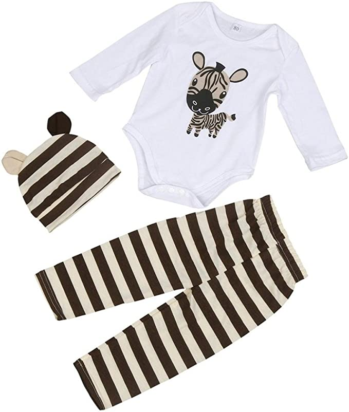 Newborn 3pcs Hat+Romper+Pants Trousers Outfit Clothing Set Dorame for 0-18M Baby Long Sleeve Clothes Set