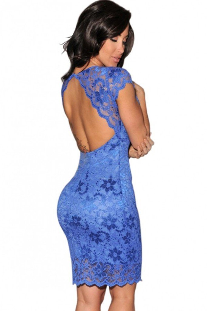 Ladies blue lace with back cut out bodycon mini dress club wear clothing pole dancer size 8 10 12