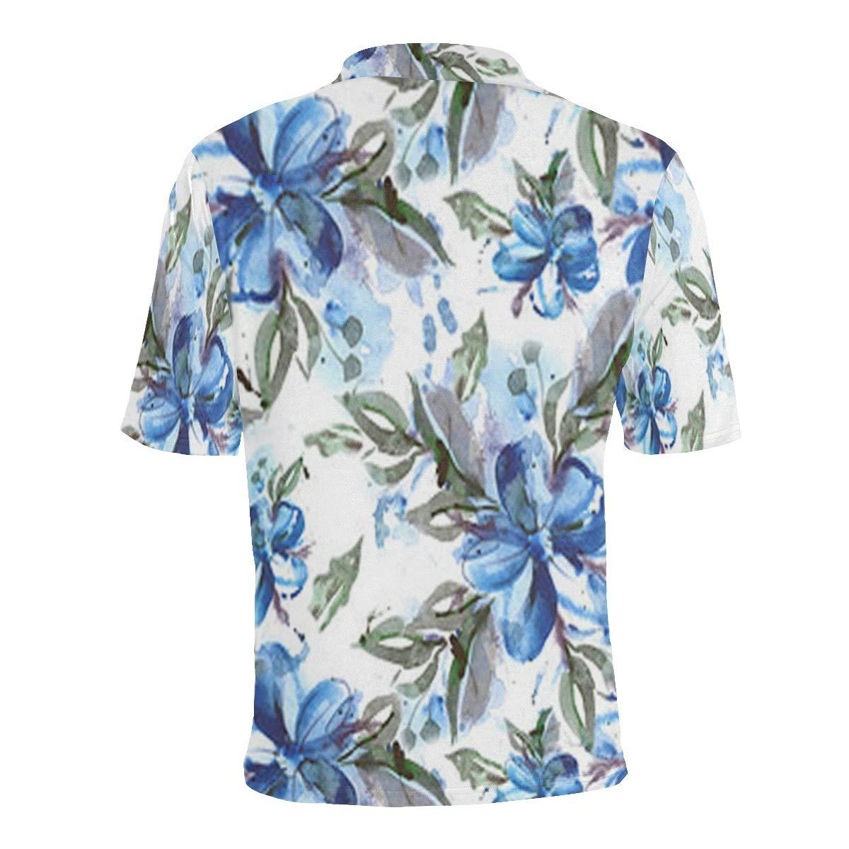 UlanLi Short Sleeve Tan Blue Hibiscus Floral Mens All Over Print Polo Shirt