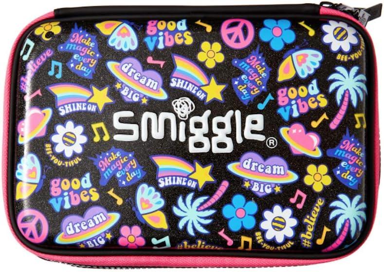 Smiggle - Estuche para lápices de doble cara, color Rosa y Negro Good Vibes: Amazon.es: Oficina y papelería
