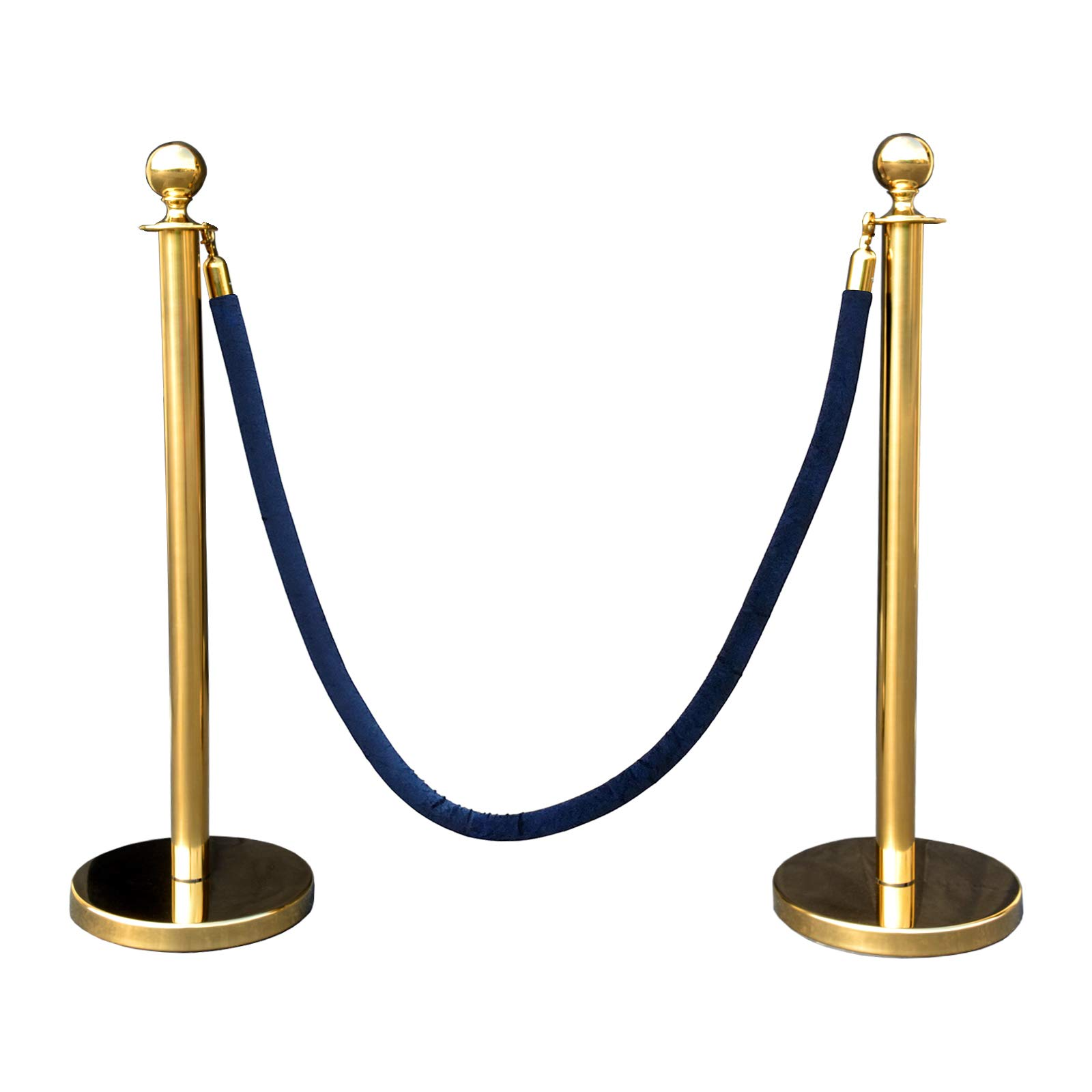 Gold Crown Top Decorative Rope Safety Queue Stanchion Barrier in 3 pcs Set, VIP Crowd Control (72'' Blue Velvet) by Crowd Control Center