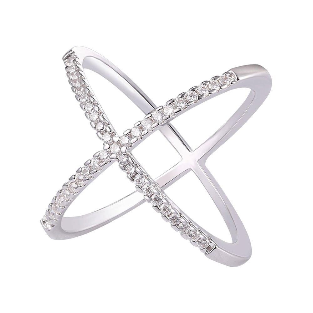 U7 Platinum Plated Pave CZ X Criss Cross Long Ring,Size 9