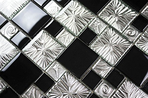 HYH 8mm Thickness Electroplated Glass Mesh-mounted Mosaic Tile Sheet for Kitchen Backsplash Bathroom Wall and Swimming Pool 12 In. X 12 In.(R3855C) Sample