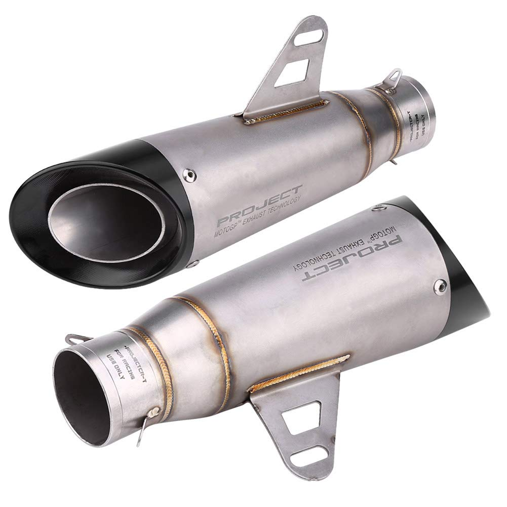 Titanium-Color Motorcycle Exhaust Pipe Acouto Universal Exhaust Muffler Tail Pipe Tailpipe Tip 51mm//2inch Stainless Steel