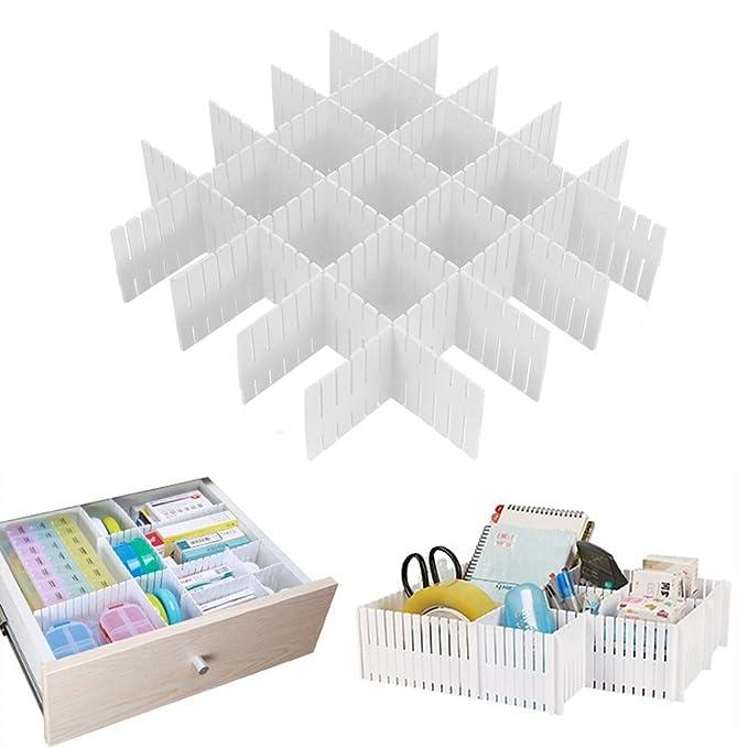 Amazon.com: Onerbuy 8pcs Adjustable Grid Drawer Dividers DIY Plastic Closet Separator Tidy Organizer Container for Underwear Socks Belt Office Supplies: ...