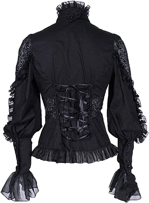 LY-VV Womens Gothic Lolita Shirt Stand Up Collar Vintage Victorian Lace Ruffle Blouse