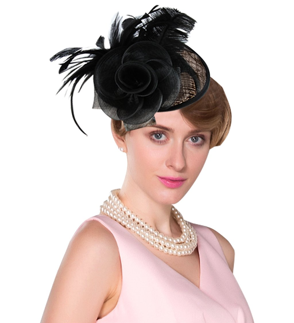Edith qi Lady Retro Peacock Cocktail Fascinators Sinamay Derby Hats for Wedding Party (Black-Style 01#)