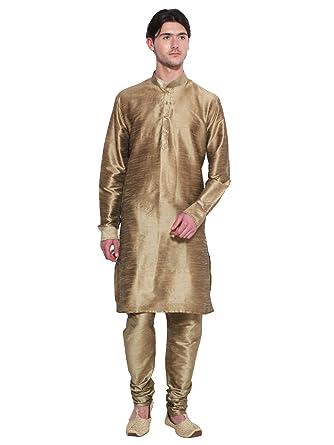 6a0fab0a9 Amazon.com: Bollywood Designer Mens Kurta Pajama Set Golden Ethnic Indian  Party Wear For Men: Clothing