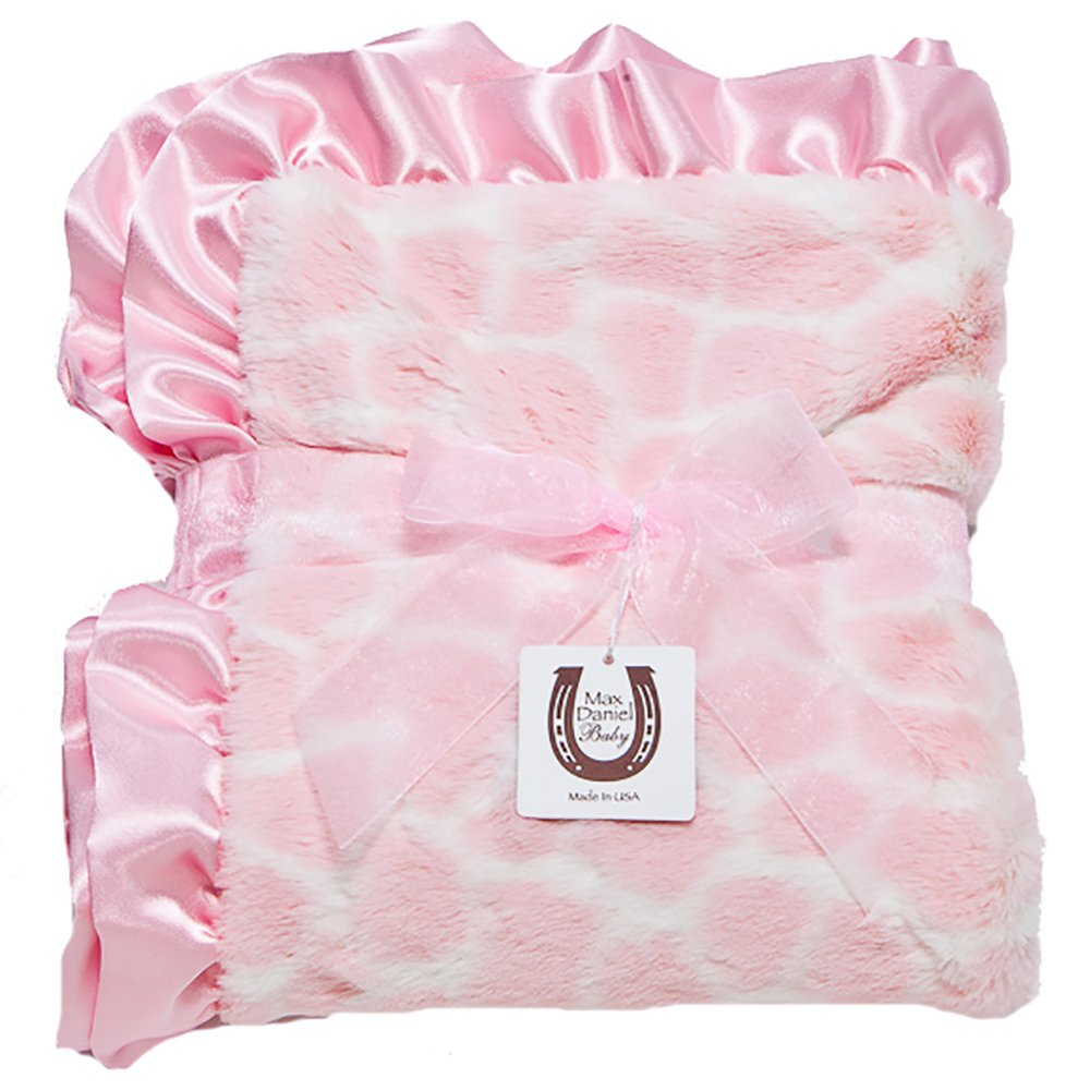 Max Daniel Child Pink Giraffe Blanket - Double Sided - Satin Ruffle 1184