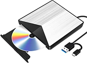 External Blu Ray CD DVD Drive 3D, USB 3.0 and Type USB C Bluray DVD CD RW Row Burner Player Compatible for MacBook OS Windows 7 8 10 PC