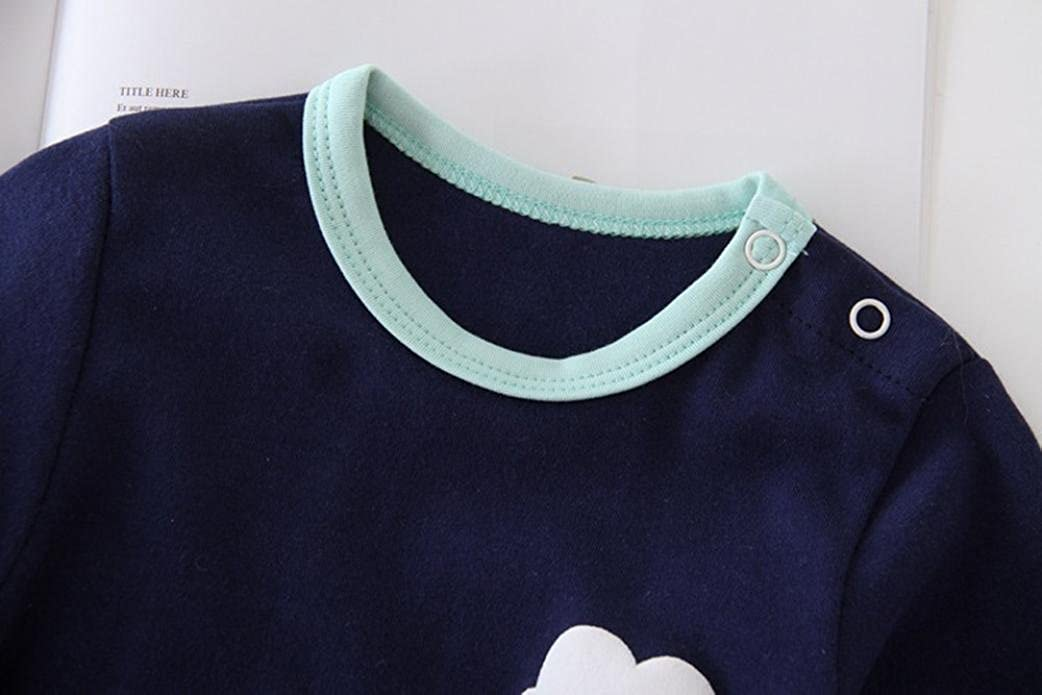 Baby Boys Girls Long Sleeves Casual Cotton Cartoon Cloud Print Romper Jumpsuit Outfits Kids Clothes