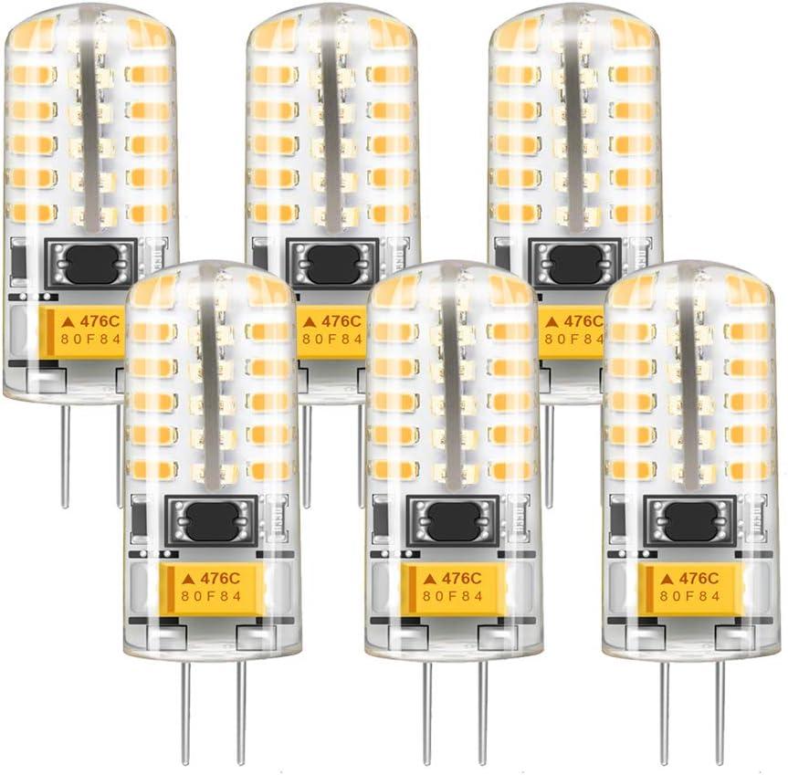 G4 LED 12V 3W, Bombubilla Bombillas LED G4 25W Halogena Equivalente Blanco Cálido 2800K 360°Ángulo de Haz Paquete de 6