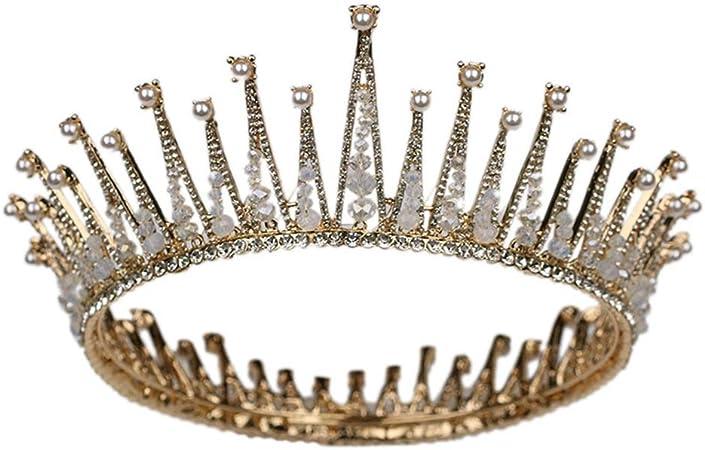 Sposa fascia per capelli capelli CORONA TIARA DIADEMA CORONA strass//perle metallo flessibile